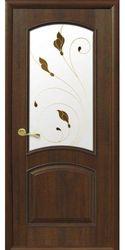 Межкомнатные двери Антре со стеклом сатин и рисунком Р1, ПВХ DeLuxe Орех premium
