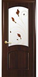 Межкомнатные двери Антре со стеклом сатин и рисунком Р1, ПВХ DeLuxe Каштан