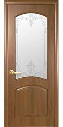 Межкомнатные двери Антре со стеклом сатин и рисунком Р2, ПВХ DeLuxe Золотая ольха