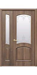 Межкомнатные двери Антре со стеклом сатин и рисунком, ПВХ DeLuxe Золотая ольха