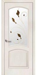 Межкомнатные двери Антре со стеклом сатин и рисунком Р1, ПВХ DeLuxe Патина