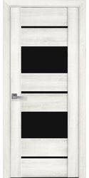 Межкомнатные двери Аскона с черным стеклом, ПВХ ДеЛюкс Ясень New