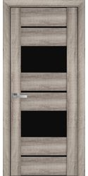 Межкомнатные двери Аскона с черным стеклом, ПВХ Viva Бук Баварский