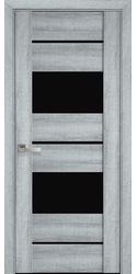 Межкомнатные двери Аскона с черным стеклом, ПВХ Viva Бук Кашемир