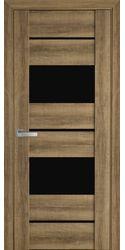 Межкомнатные двери Аскона с черным стеклом, ПВХ Viva Бук Шато