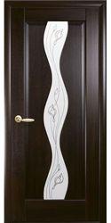 Межкомнатные двери Волна со стеклом сатин и рисунком, ПВХ DeLuxe Каштан