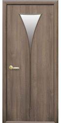 Межкомнатные двери Бора со стеклом сатин, ПВХ DeLuxe Золотая ольха