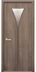 Межкомнатные двери Бора со стеклом сатин и рисунком, ПВХ DeLuxe Золотая ольха