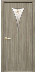 Межкомнатные двери Бора со стеклом сатин и рисунком Р1, Экошпон  Сандал