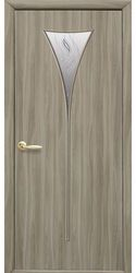 Межкомнатные двери Бора со стеклом сатин и рисунком Р2, Экошпон  Сандал