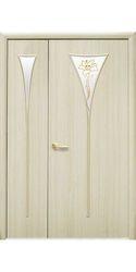 Межкомнатные двери Бора со стеклом сатин и рисунком, ПВХ DeLuxe Ясень
