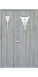 Межкомнатные двери Бора со стеклом сатин и рисунком, Экошпон Ясень патина