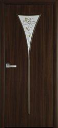 Межкомнатные двери Бора со стеклом сатин и рисунком, Экошпон  Орех 3D