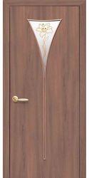 Межкомнатные двери Бора со стеклом сатин и рисунком, Экошпон  Ольха 3D