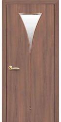 Межкомнатные двери Бора со стеклом сатин, Экошпон  Ольха 3D