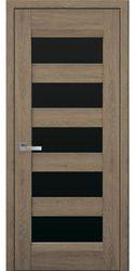 Межкомнатные двери Бронкс с черным стеклом, Нано Флекс  Дуб янтарный