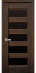 Межкомнатные двери Бронкс с черным стеклом, Нано Флекс Дуб шоколадный