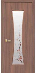 Межкомнатные двери Часы со стеклом сатин и рисунком, Экошпон  Ольха 3D