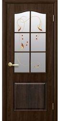 Межкомнатные двери Классик со стеклом сатин и рисунком, ПВХ DeLuxe Орех premium