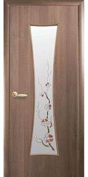 Межкомнатные двери Часы со стеклом сатин и рисунком, ПВХ DeLuxe Золотая ольха