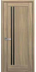 Межкомнатные двери Делла с черным стеклом, ПВХ DeLuxe Золотой дуб