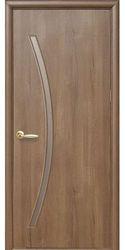 Межкомнатные двери Дива со стеклом сатин, ПВХ DeLuxe Золотая ольха