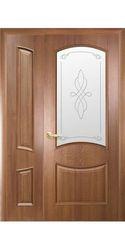 Двойные глухие межкомнатные двери Донна со стеклом сатин и рисунком, ПВХ DeLuxe Золотая ольха