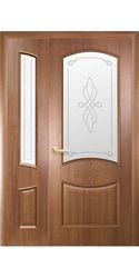 Двойные межкомнатные двери Донна со стеклом сатин и рисунком, ПВХ DeLuxe Золотая ольха