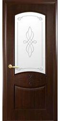 Межкомнатные двери Донна со стеклом сатин и рисунком, ПВХ DeLuxe Каштан