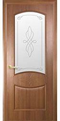 Межкомнатные двери Донна со стеклом сатин и рисунком, ПВХ DeLuxe Золотая ольха