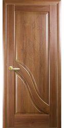 Межкомнатные двери Амата глухое с гравировкой, ПВХ DeLuxe Золотая ольха