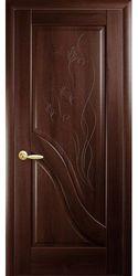 Межкомнатные двери Амата глухое с гравировкой, ПВХ DeLuxe Каштан