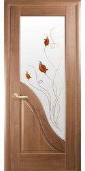 Межкомнатные двери Амата со стеклом сатин и рисунком Р1, ПВХ DeLuxe Золотая ольха