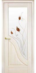 Межкомнатные двери Амата со стеклом сатин и рисунком, ПВХ DeLuxe Ясень