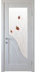 Межкомнатные двери Амата со стеклом сатин и рисунком Р1, ПВХ DeLuxe Ясень New