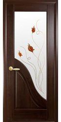 Межкомнатные двери Амата со стеклом сатин и рисунком Р1, ПВХ DeLuxe Каштан