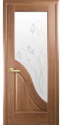 Межкомнатные двери Амата со стеклом сатин и рисунком Р2, ПВХ DeLuxe Золотая ольха