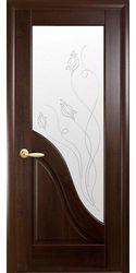 Межкомнатные двери Амата со стеклом сатин и рисунком Р2, ПВХ DeLuxe Каштан