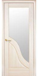 Межкомнатные двери Амата со стеклом сатин, ПВХ DeLuxe Ясень