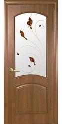 Межкомнатные двери Антре со стеклом сатин и рисунком Р1, ПВХ DeLuxe Золотая ольха