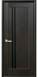Межкомнатные двери Делла с черным стеклом, ПВХ DeLuxe Венге new