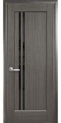 Межкомнатные двери Делла с черным стеклом, ПВХ DeLuxe Серый