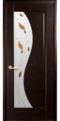 Межкомнатные двери Эскада со стеклом сатин и рисунком Р1, ПВХ DeLuxe Венге new