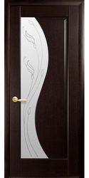 Межкомнатные двери Эскада со стеклом сатин и рисунком Р2, ПВХ DeLuxe Венге new