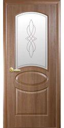 Межкомнатные двери Овал со стеклом сатин и рисунком, ПВХ DeLuxe Золотая ольха