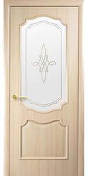 Межкомнатные двери Рока со стеклом сатин и рисунком, ПВХ DeLuxe Ясень