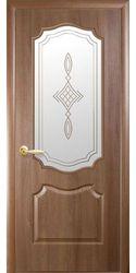 Межкомнатные двери Вензель со стеклом сатин и рисунком, ПВХ DeLuxe Золотая ольха