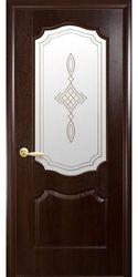 Межкомнатные двери Вензель со стеклом сатин и рисунком, ПВХ DeLuxe Каштан