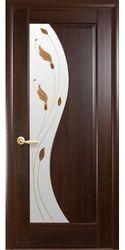 Межкомнатные двери Эскада со стеклом сатин и рисунком Р1, ПВХ DeLuxe Каштан