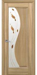 Межкомнатные двери Эскада со стеклом сатин и рисунком Р1, ПВХ DeLuxe Золотой дуб
